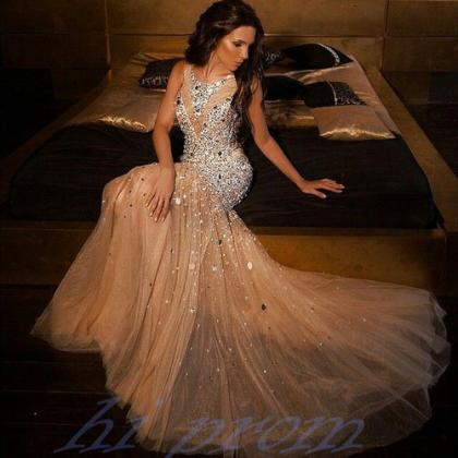 Mermaid Long Prom Dresseschampagne Prom Gownsbeading Prom Dresses