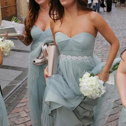 Strapless A-line Long Bridesmaid Dr..