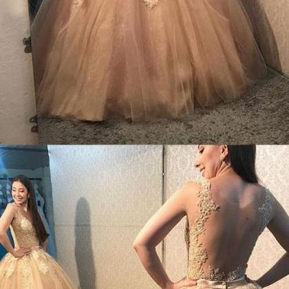 Illusion Back Ball Gown Prom Dress ..