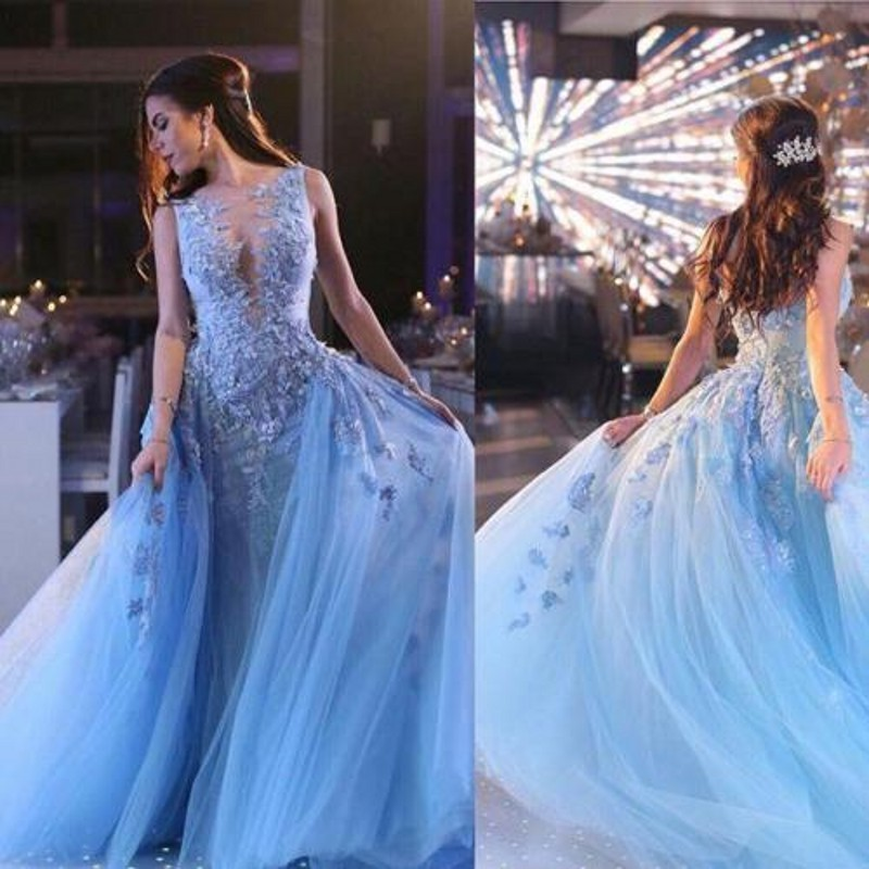 e3791ee14ca Arabic Sky Blue Lace Prom Dress Sexy See Through A Line Pageant Runway Dress  Sweep Train