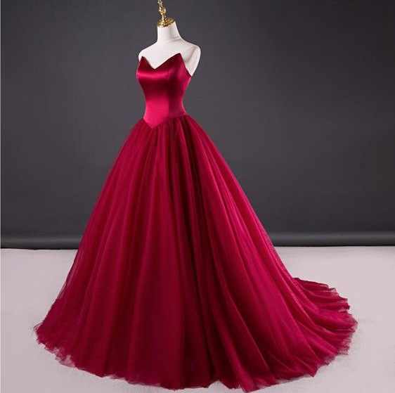 Ball Gown Wine Red Prom Dress Simple Wedding Strapless Formal Sweetheart Long Tulle