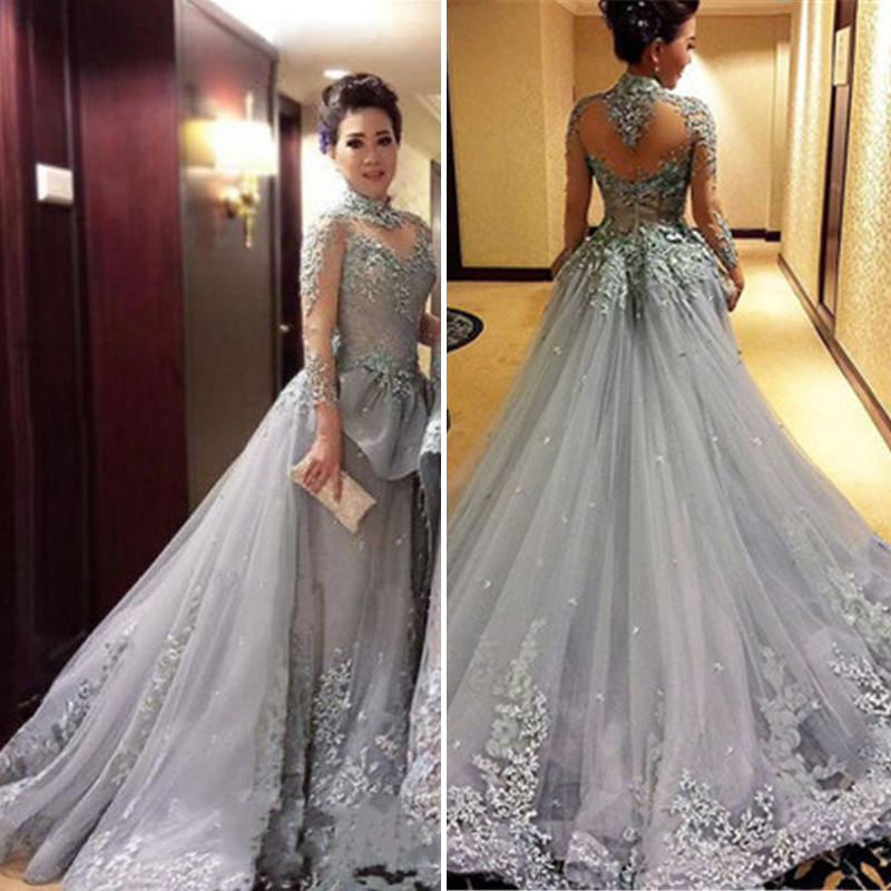 fae378aa665 Modest Tulle Appliques High-Neck Long Sleeves Prom Dress 2018 New Court  Train See Through