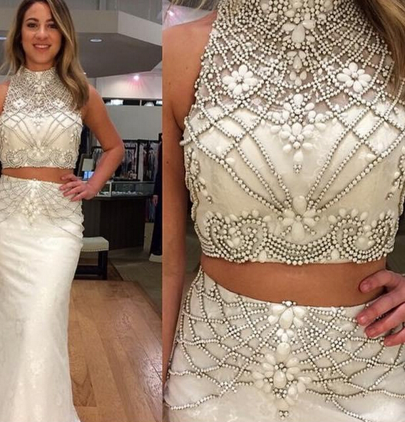ae69e2f75d71e7 White Crystal Prom Dress , Two Pieces Prom Dress, Lace Lining White Prom  Dress, Fashion Party Dress, Luxury Beading Prom Dress, Free Custom Made  Prom Dress