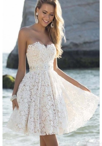 cc79e7e4c33 Elegant Sweetheart Knee Length Short White Homecoming Prom Party Dresses