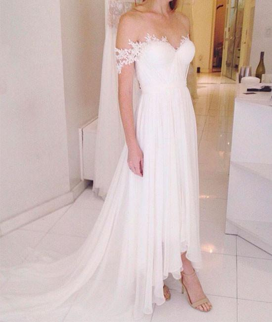 3a742c118cf Off-the-Shoulder Lace Chiffon High-Low Wedding Dress