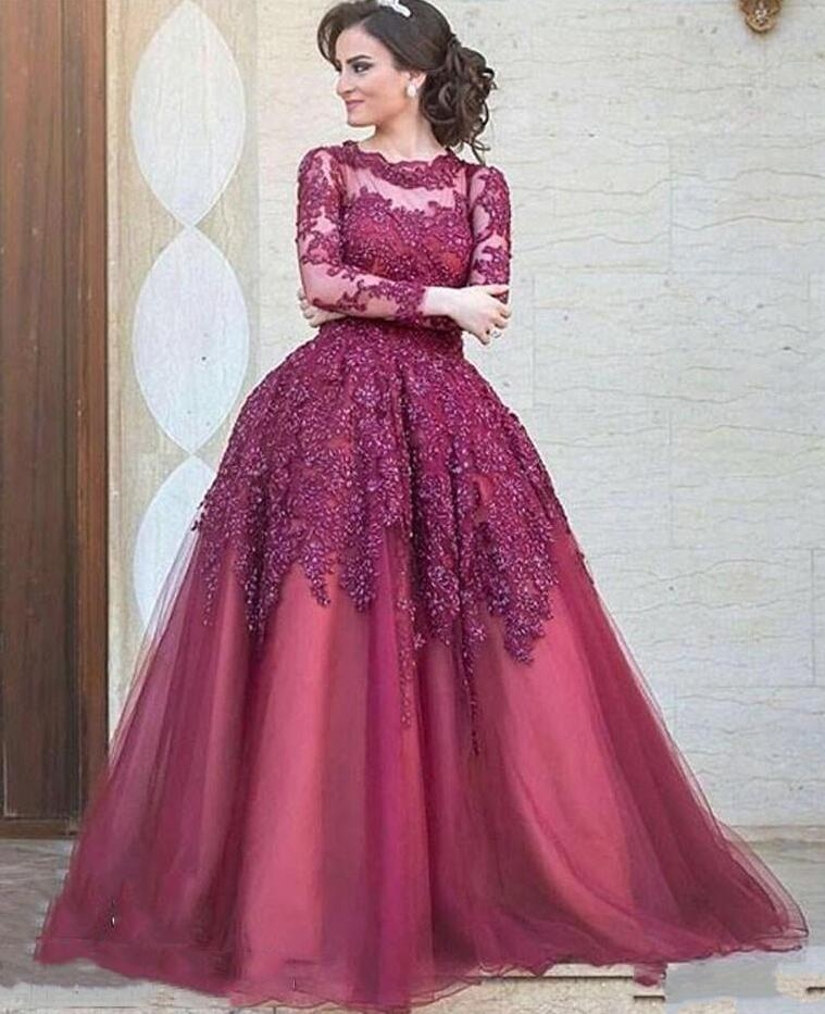 Sexy Burgundy Prom Dress,Long Party Dress ,Cheap Long Sleeves Arabic ...