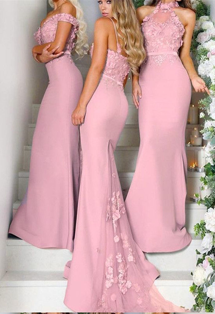Gorgeous Prom Dresses Lace Spagheti Straps Embroidery Long Mermaid Court Train Bridesmaid Dresses