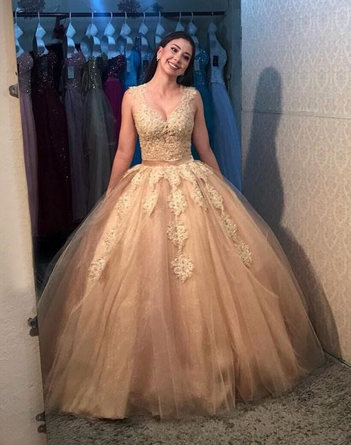 Illusion Back Ball Gown Prom Dress Quinceanera Dress
