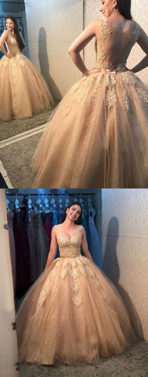 Sexy Appliques Ball Gown Prom Dresses, Tulle Quinceanera Dresses