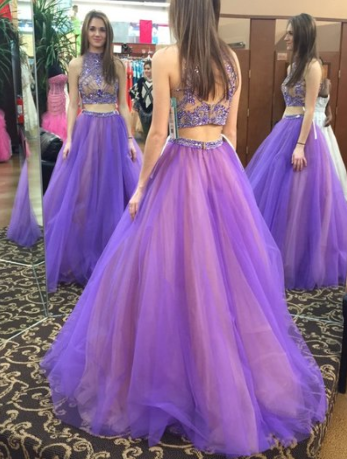 91a7a961ff Beads Two Piece High Neck Long Light Purple Prom Dress with Open Back