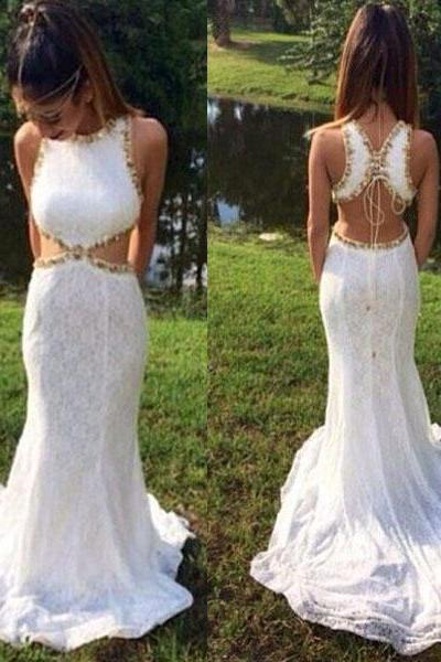 white prom dress, lace prom dress, sexy prom dress, unique prom dress, backless prom dress