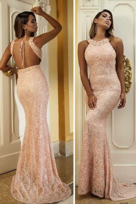 Sexy Open Back Prom Dress,Mermaid Open Back Evening Dress,Rose Pink Lace Formal Party Dress