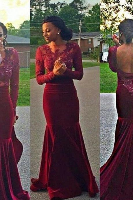 Backless Burgundy Prom Dress,Long Sleeve Appliques Prom Dresses,Beaded Prom Dress,Top Sheer Neck Formal Evening Dress