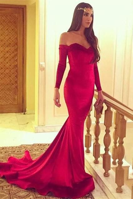Glamorous Long-Sleeve Sweetheart Mermaid Evening Dress,Backless Party Dresses
