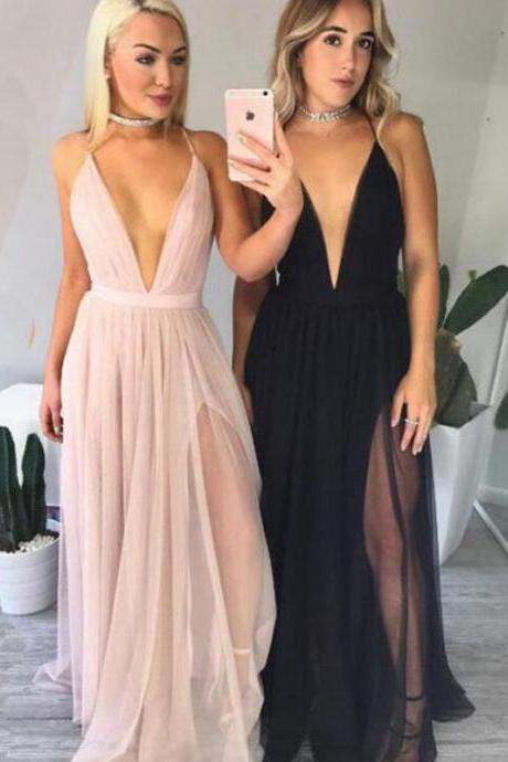 Plunge V Spaghetti Straps Floor Length A-Line Formal Dress Featuring Slit, Prom Dress
