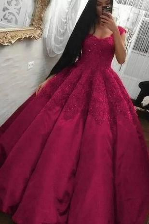 Prom Dresses,Lace Appliques Prom Dress, Beads Satin Floor Length Prom Dresses,Fuchsia Evening Dress ,Formal Party Gowns