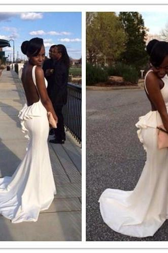 Prom Dresses,Mermaid Prom Dress,White Prom Gown,Chiffon Prom Gowns,Elegant Evening Dress,Modest Evening Gowns,Sexy Party Gowns