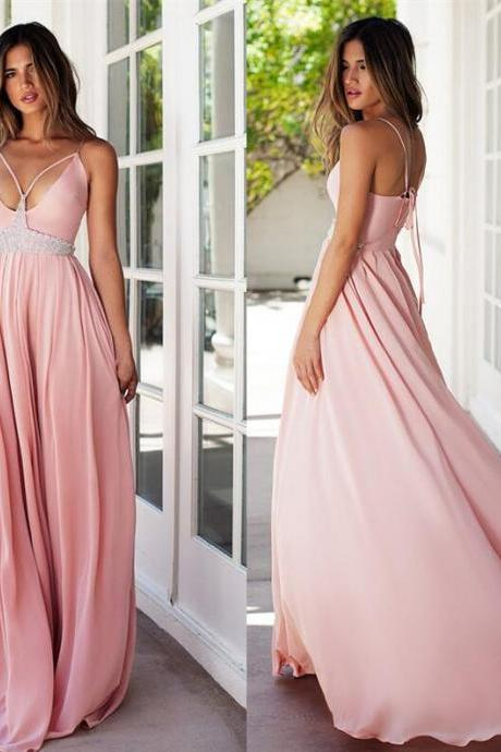 A-line sweetheart long prom dress,strap Pink backless prom gown, chiffon beaded evening gowns
