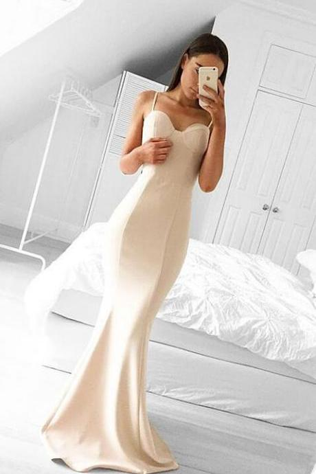 Spaghetti Straps Sweetheart Prom Dress,Cheap Long Pink Mermaid Prom Dress with Train,Charming Long Formal Evening Dress