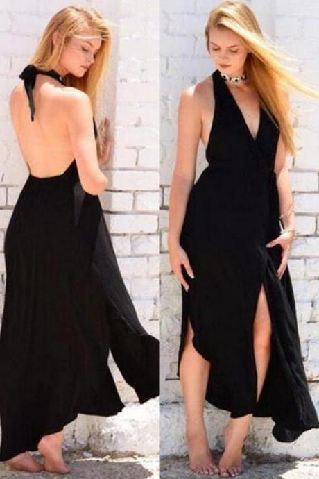 Halter Black Prom Dress,Backless Evening Dress,Sexy prom Gown,Front-Split V Neck Sleeveless Prom Dresses