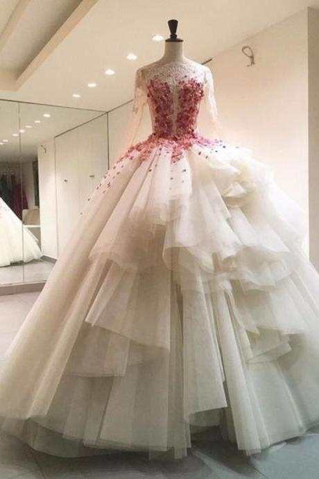 Floral Wedding Dresses,Illusion Wedding Dress,Bodice Wedding Dresses,Fashion Bridal Dress,Sexy Party Dress, New Style Evening Dress