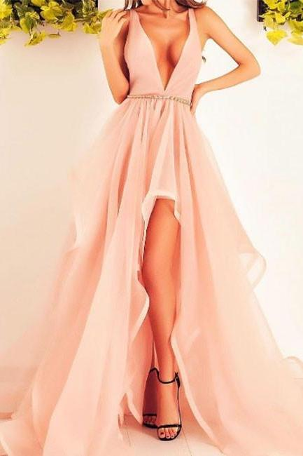 prom dresses ,Stylish v neck tulle long prom dress,pink formal dresses