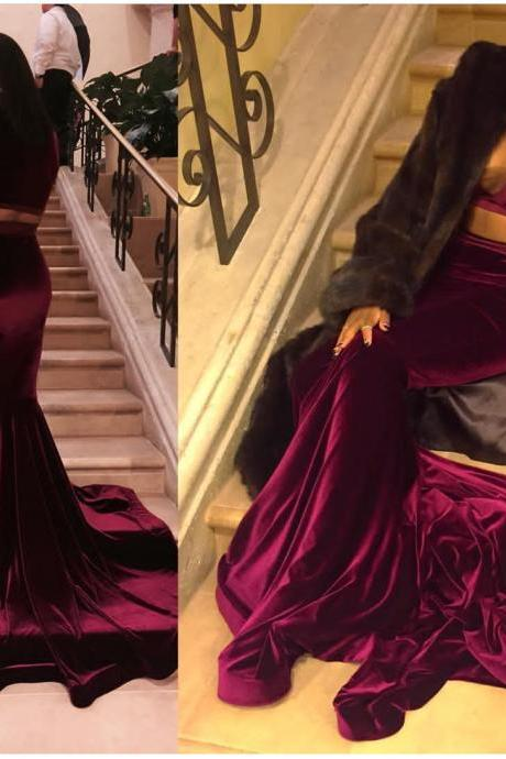 Two Pieces Velvet Prom Dress evening dresses