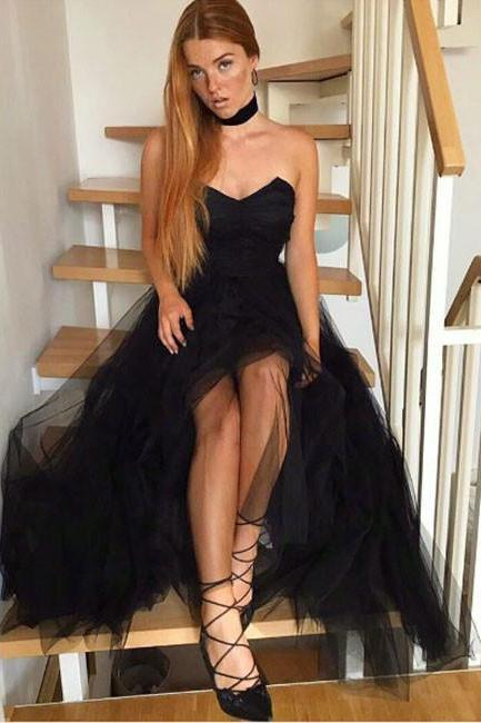 Black Tulle Prom Dresses, 2018 Prom Dresses, Long Evening Dress, Sexy Party Dress