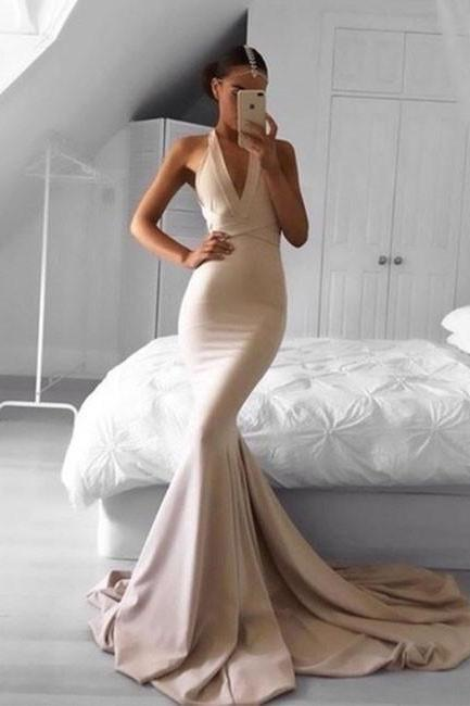 Sexy Mermaid Chiffon Prom Dresses V-neck Floor Length Women Dresses
