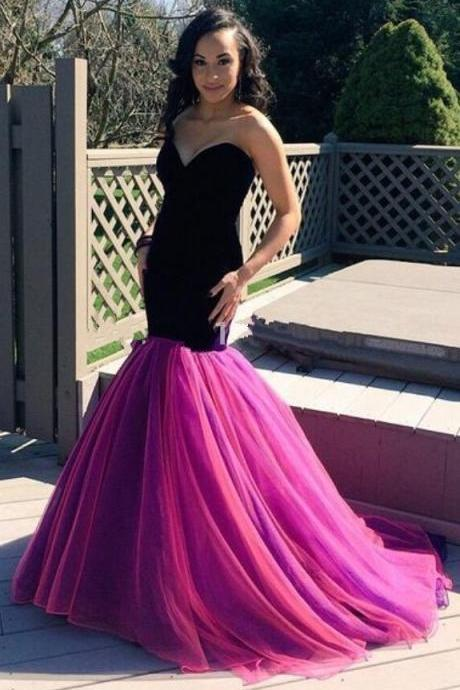 Black Floor Length Mermaid Evening Dress with Pink Tulle Skirt