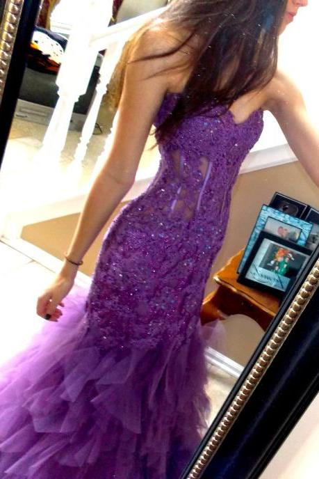 party dress,formal dress,prom dress,Purple Mermaid Formal Dresses,Lace Beading Formal Dresses,Off Shoulder Party Dress,Sweetheart Formal Dresses