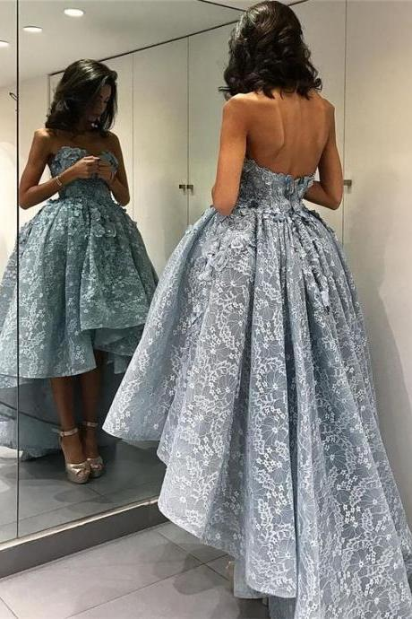party dress,formal dress,prom dress,Lace Formal Dresses,Off Shoulder Formal Dresses,Sweetheart Party Dress,High Low Formal Dresses