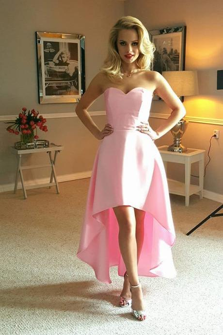 2018 Sweetheart High Low Party Dress For Senior Prom, Pink Homecoming Dress