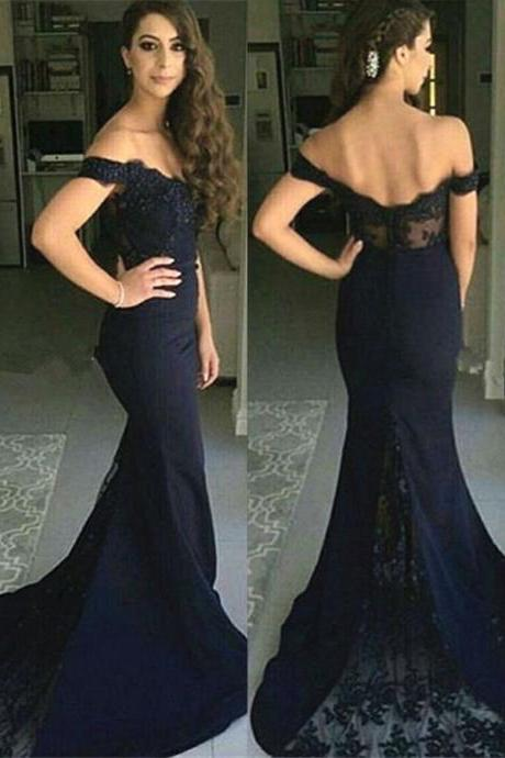 Mermaid Off-the-Shoulder Bridesmaid Dress,Sweep Train Prom Gowns,Navy Blue Stretch Satin Prom Dress with Lace,Prom Dresses