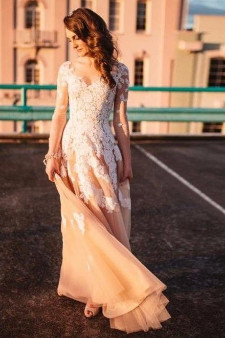 Elegant Prom Dresses,Champagne Prom Dress,Tulle and Lace Prom Gown,V-Neck Appliques Prom Dresses,Long Sleeves Prom Dress,Wedding Dress,Prom Dresses