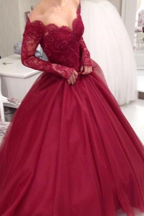 Long Sleeves Ball Gown Prom Dresses,Burgundy Lace Prom Dresses,Sexy Wine Red Evening Prom Gowns,Communication Dress,Custom Made High Quality Prom Dress,Prom Dresses