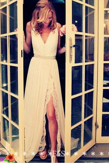 white prom dress, long prom dress, lace prom dress, elegant prom dress, cheap wedding dress