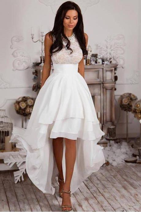 High low White Prom Dress,Homecoming Dress