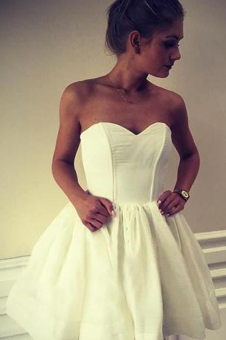 homecoming dresses,Satin Homecoming Dresses,Simple Ball Gown Sweetheart Backless Homecoming Dress