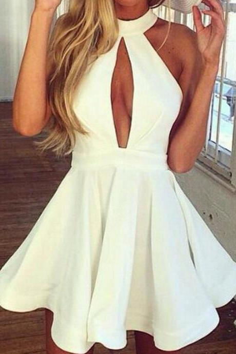 homecoming dresses,White Halter Homecoming Dresses, Short Homecoming Dress with Keyhole,Cheap Backless A Line Party Dress,Short Prom Dress