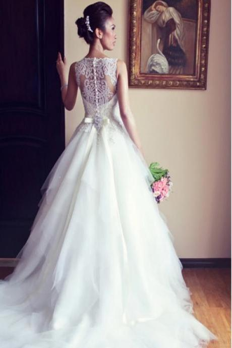 Newest Ball Gown Wedding Dresses,Floor-length Wedding Gowns,Luxury Beading Wedding Dresses With Sashes,A-Line Ivory Wedding Party Dress,Tulle Scoop Wedding Dress,Wedding Dresses