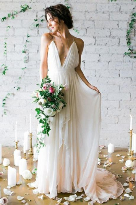 Simple Deep V-neck Wedding Dress,Sweep Train Ivory Wedding Dresses With Straps,Chic Plus Size Wedding Gown,Long Chiffon Wedding Dress,Wedding Dresses