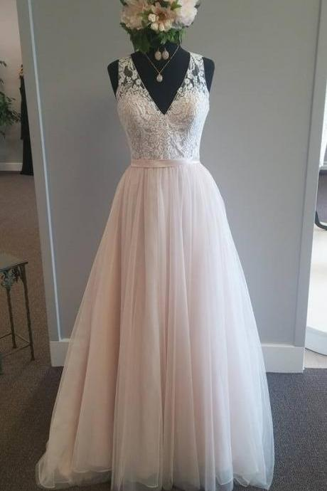 A-line Wedding Dresses,Elegant Wedding Gown,Light Pink Wedding Dresses,V-neck Bridal Gowns,See Through Wedding Dresses,Plus Size Wedding Dress,Wedding Dresses
