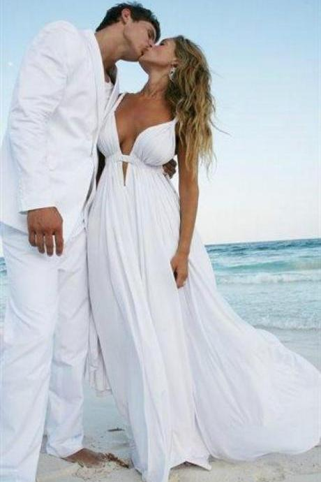 Deep V-neck Beach Wedding Dresses,Long Wedding Dresses,Simple Cheap Wedding Gowns,Charming Bridal Dresses,Chiffon Bridal Gowns,Elegant Wedding Dresses