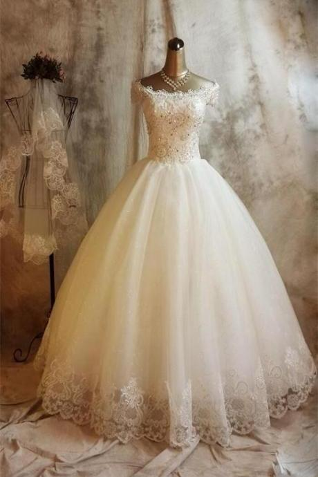 Long Ball Gown Lace Wedding Dresses,Beaded Back Up Lace Wedding Gowns,Bridal Gowns