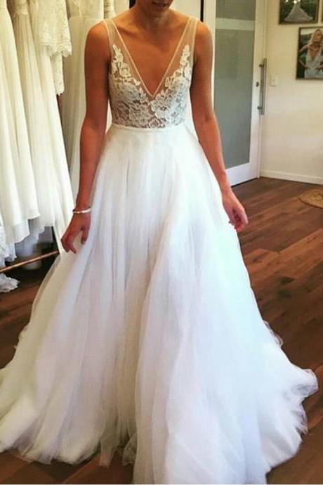 Wedding Dress,Wedding Dresses,V Neck Spring Wedding Dress with V Back,Wedding Dresses,Long Bridal dresses