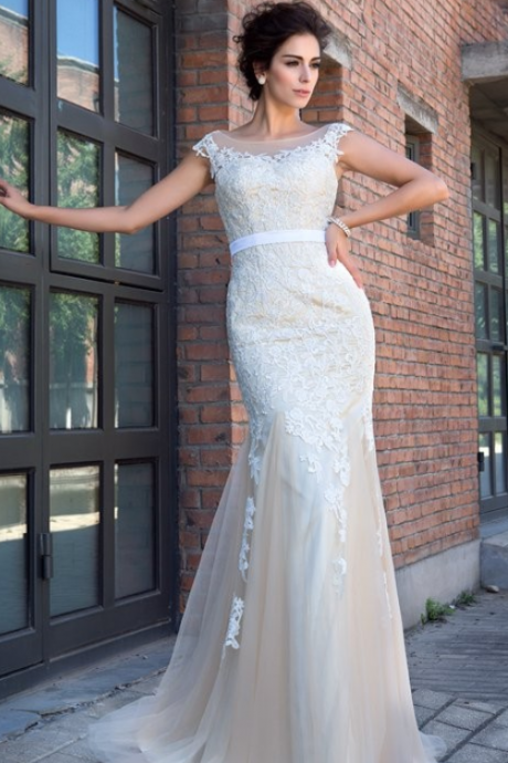 Wedding Dress,Wedding Dresses,Mermaid Sheer Neck Prom Dress,Applique Short Sleeves Wedding Dresses,Sweep Brush Train Bridal Dresses,Net Dresses