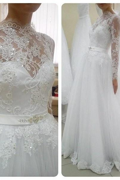 Wedding Dress,Wedding Dresses,Lace A-Line Wedding Dresses,Long Sleeve Wedding Dresses,High Neck Wedding Dresses,Wedding Guest Prom Gowns,Formal Dress