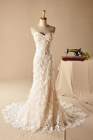 Strapless Sweetheart Lace Mermaid Long Wedding Dress