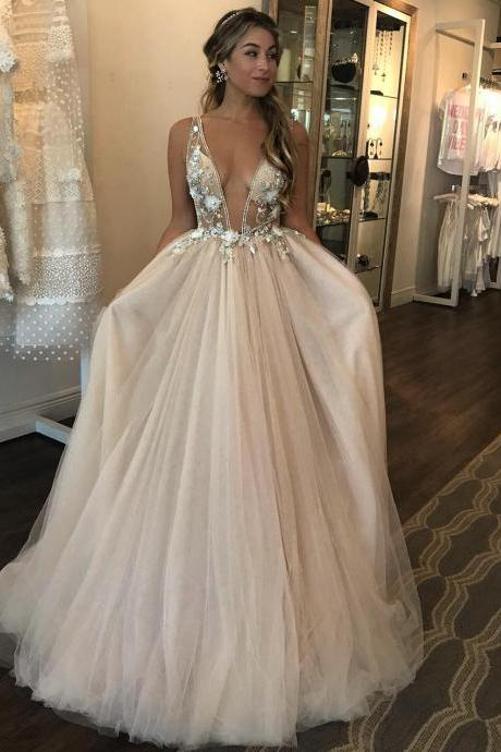 Wedding Dress,Wedding Dresses,Deep V neck Wedding Dresses,Puffy Tulle Wedding Dress, 3D Floral Appliques Wedding Dress,Sheer Bodice Bridal Gowns